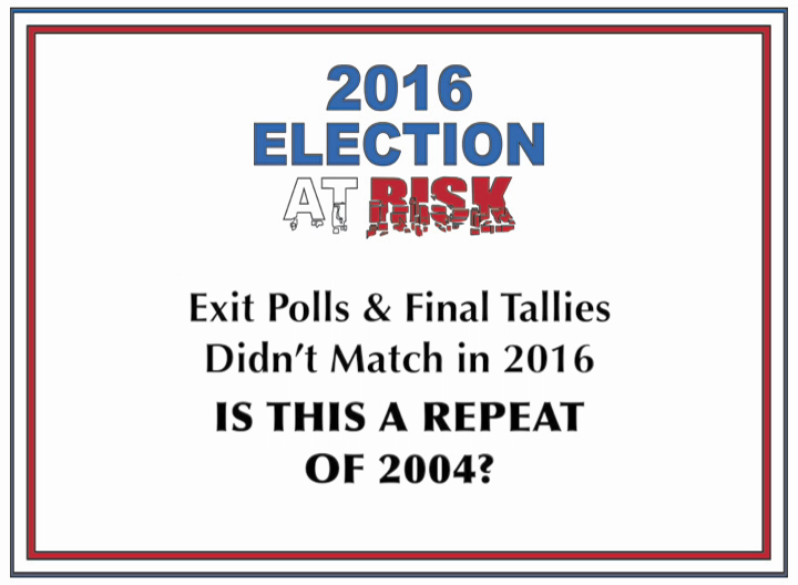 2016 Election at Risk: Exit Polls & Final Tallies Didn't Match in 2016. IS THIS A REPEAT OF 2004?